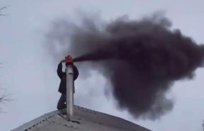 Приспособление для чистки дымохода снизу